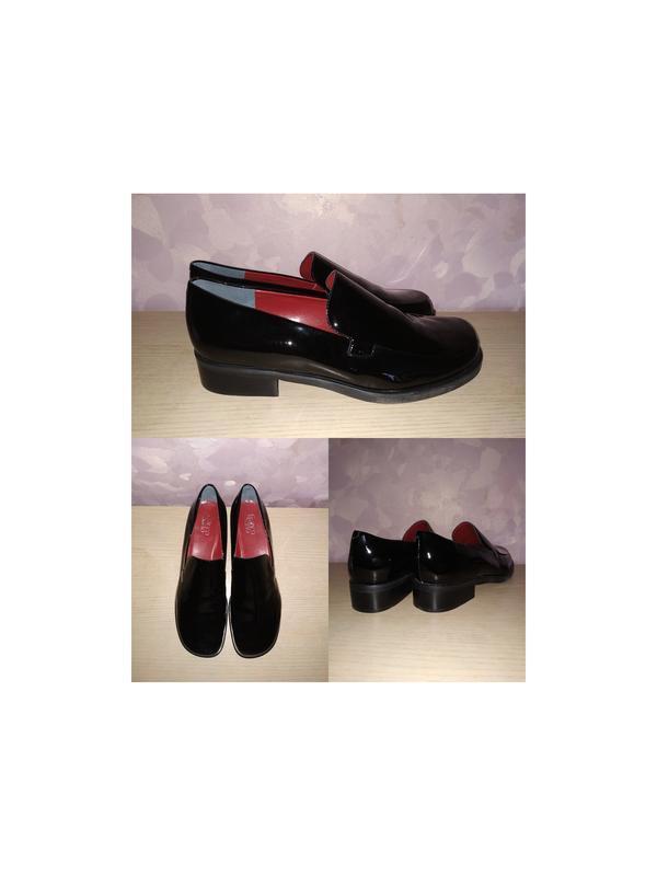 Лоферы 43-44 р туфли лаковые кожа большой размер
