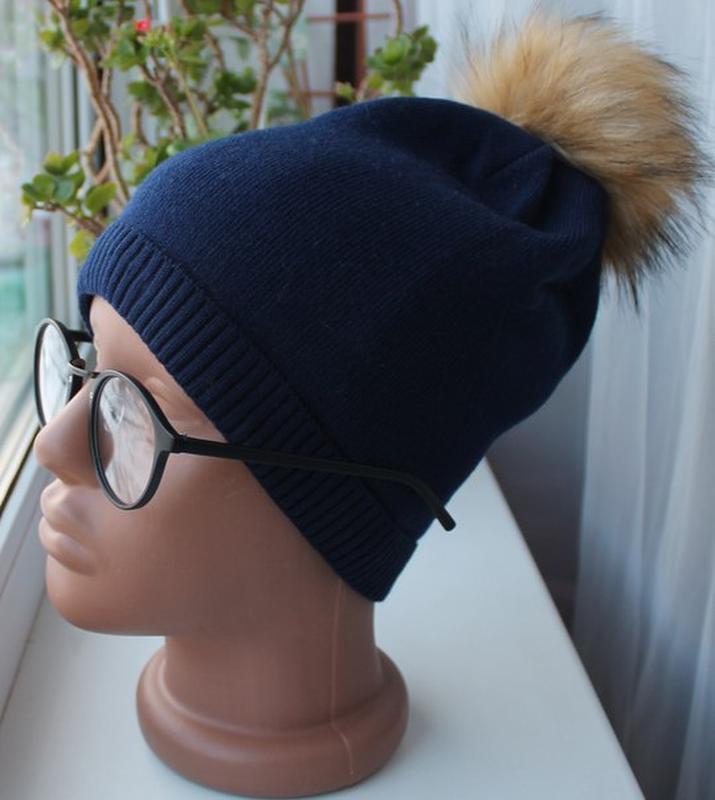 Новая шапочка (полный флис) с помпоном, темно-синяя