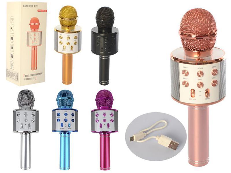 Микрофон Bluetooth караоке, блютуз колонка, FM радио Акция Все цв - Фото 5