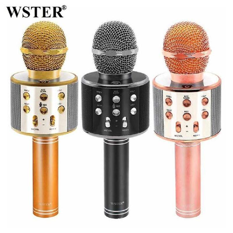 Микрофон Bluetooth караоке, блютуз колонка, FM радио Акция Все цв - Фото 3