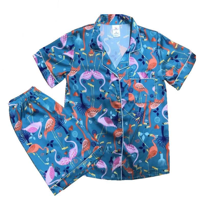 женская шелковая пижама фламинго
