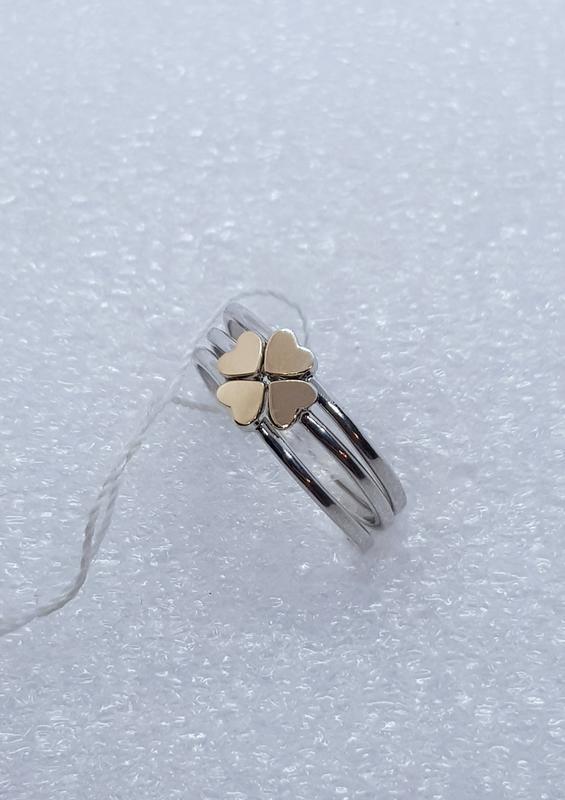 Серебряное кольцо трансформер в виде клевера
