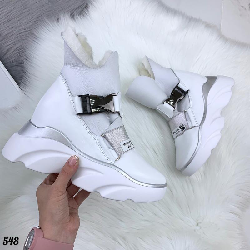 Натуральная кожа грубые зимние кожаные ботинки на массивной по...