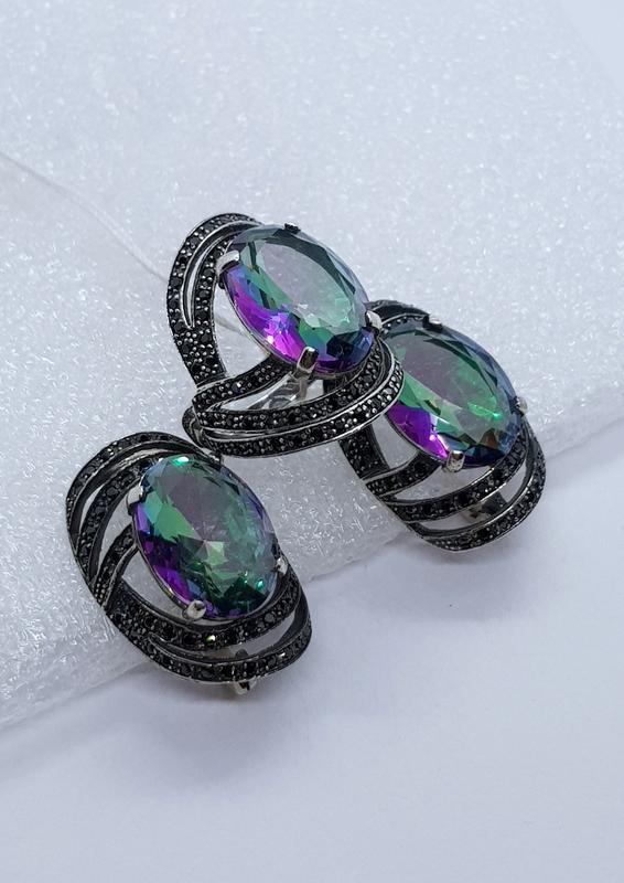 Комплект серебряный серьги+кольцо бойко шикк