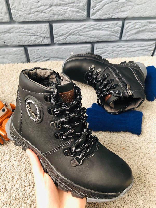 Черные кожаные зимние ботиночки для мальчика
