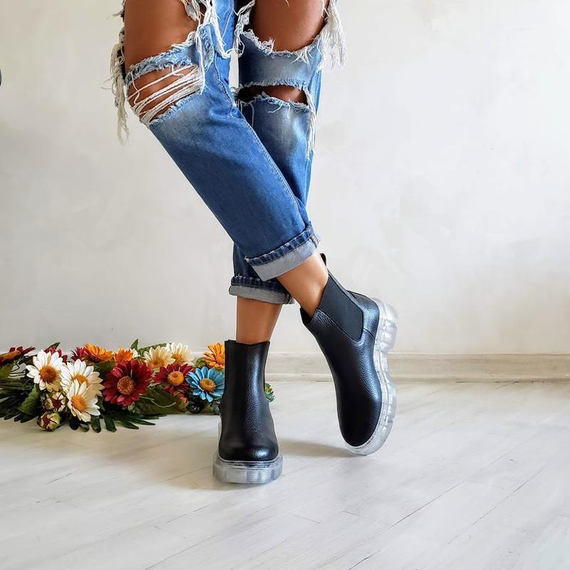 36-40 натуральная кожа ботинки челси / деми зима / черные - Фото 3