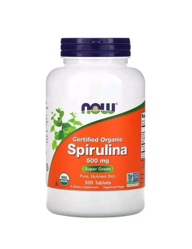 Сертифицированная органическая спирулина, 500мг, 500таблеток