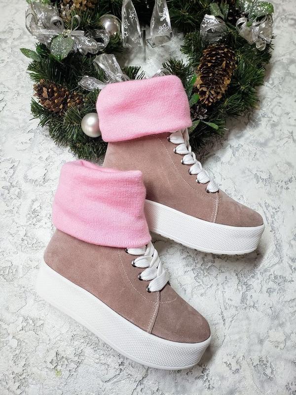 Натуральные замшевые кеды ботинки