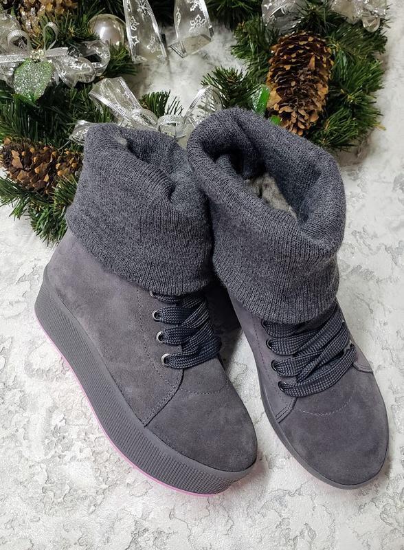 Натуральные замшевые ботинки кеды