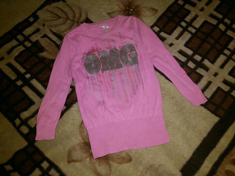 Розовая кофточка на 8-9 лет с паетками