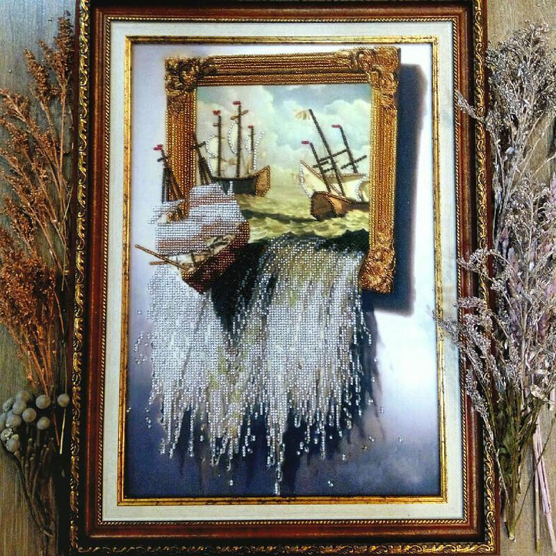 Картина бисером КОРАБЛИ, Море в картине!!!Ручная работа!!!