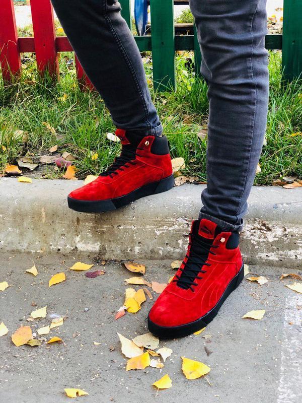 Ботинки мужские замшевые красные зимние на шнурках