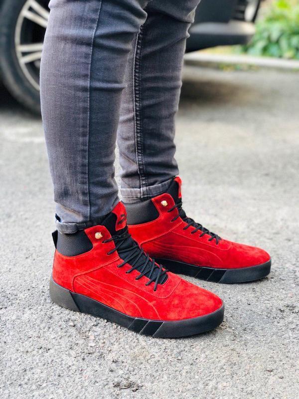 Ботинки мужские замшевые красные зимние на шнурках - Фото 2
