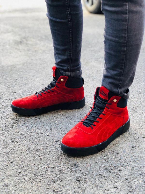 Ботинки мужские замшевые красные зимние на шнурках - Фото 3