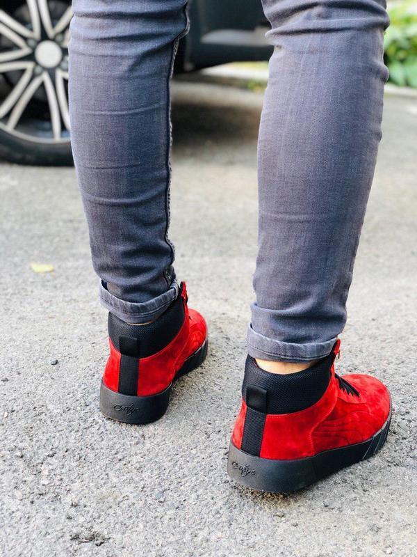 Ботинки мужские замшевые красные зимние на шнурках - Фото 4