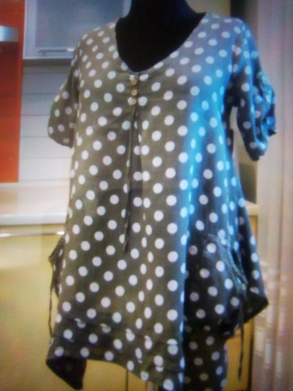 Актуальная льняная блуза/туника в стиле бохо в состоянии новой...