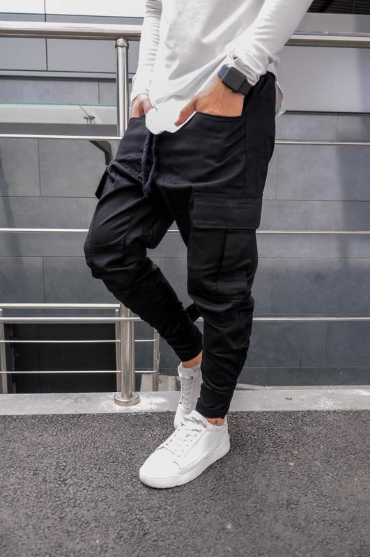 Брюки мужские asos карго черные / штани чоловічі с карманами ч...