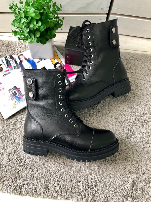 Ботинки на шнуровке натуральная кожа черные
