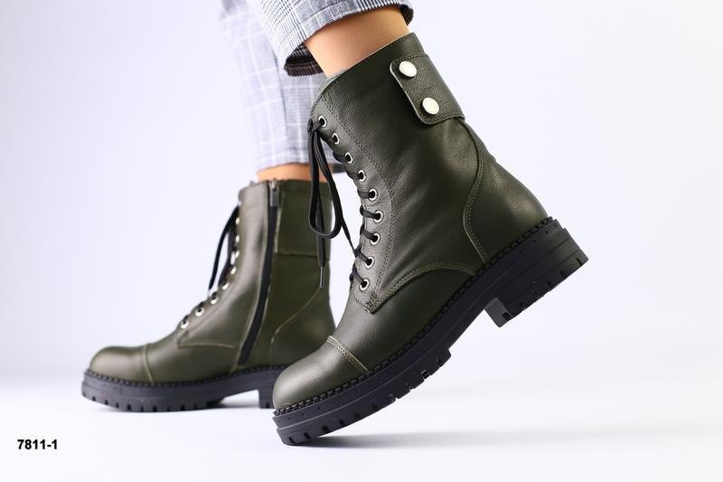 Ботинки на шнуровке натуральная кожа зеленые темные