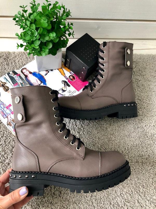 Ботинки на шнуровке натуральная кожа коричневые визон