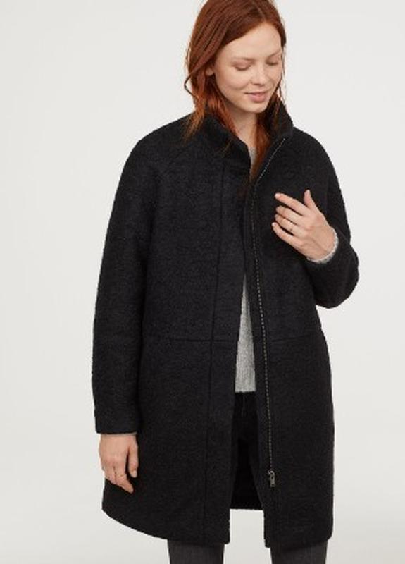 Черное демисезонное пальто h&m