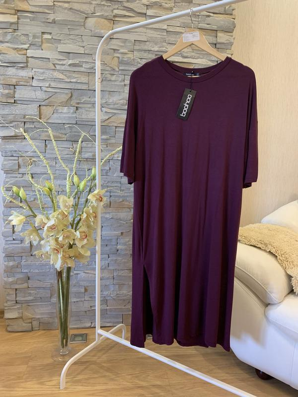 Платье-туника цвета бордо от boohoo