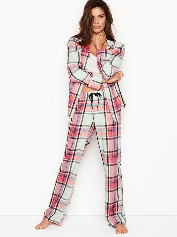 Пижама для сна клетчатая the flannel pj от victoria's secret  xs