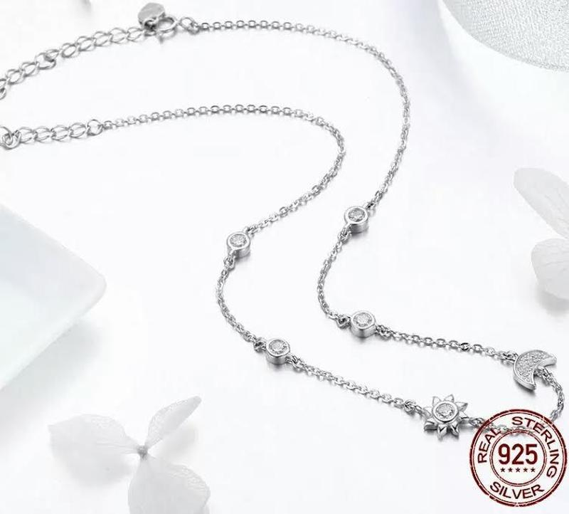 Серебряное ожерелье цепочка луна и солнце