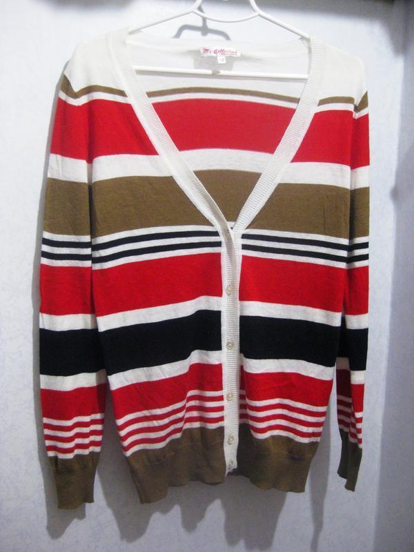 Джемпер пуловер кофта my collection paris в полоску красный ко...