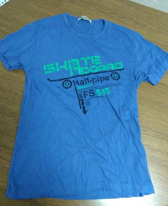 Мужская синяя футболка с надписями р. м