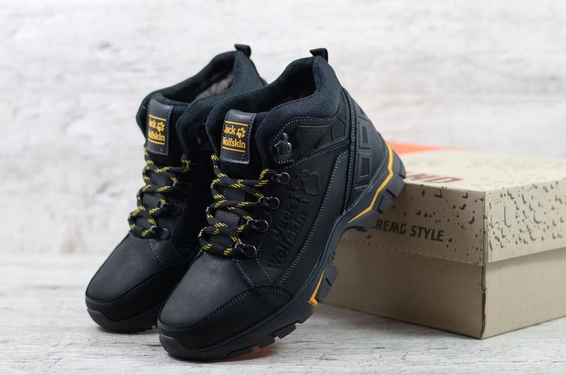 Натуральная кожа мужские зимние кожаные ботинки на шнурках
