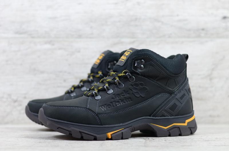 Натуральная кожа мужские зимние кожаные ботинки на шнурках - Фото 2