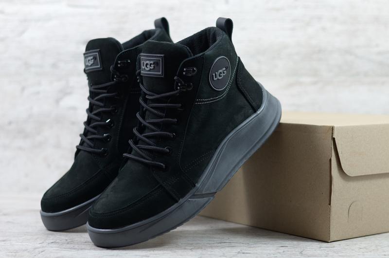 Натуральный нубук мужские зимние кожаные ботинки на шнурках в ...
