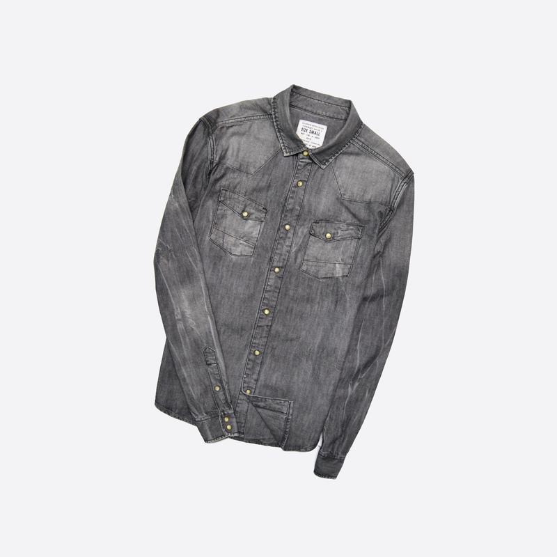 Allsaints s / мужская джинсовая серая рубашка на кнопках, фабр...