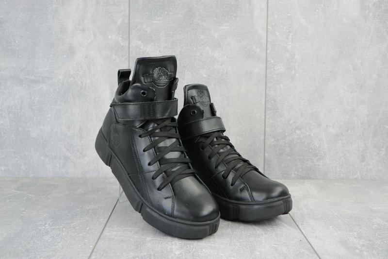 Ботинки женские road-style черные (натуральная кожа, зима)