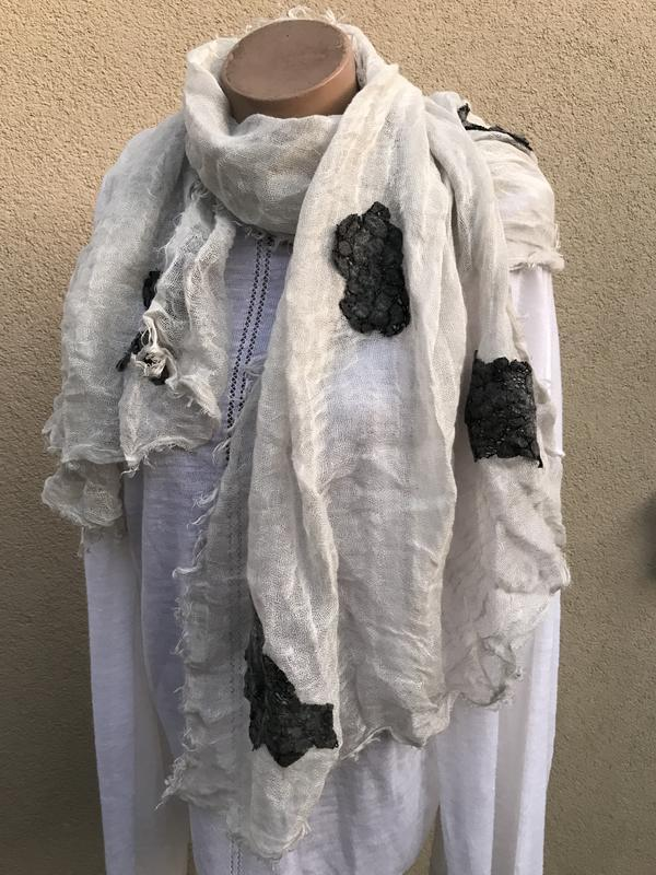 Большой,шарф,палантин,аппликкация,этно,бохо стиль,хлопок,итали...