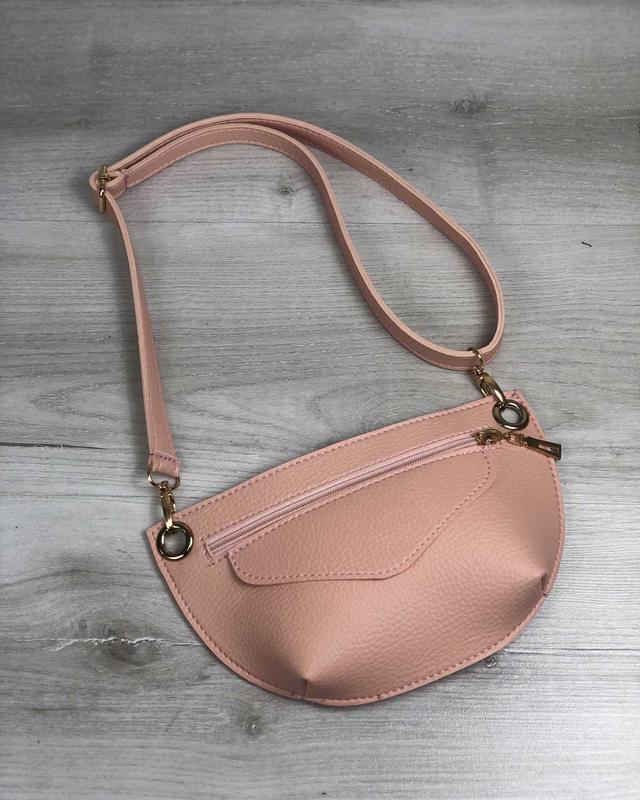 Женская поясная сумочка клатч бананка пудровая