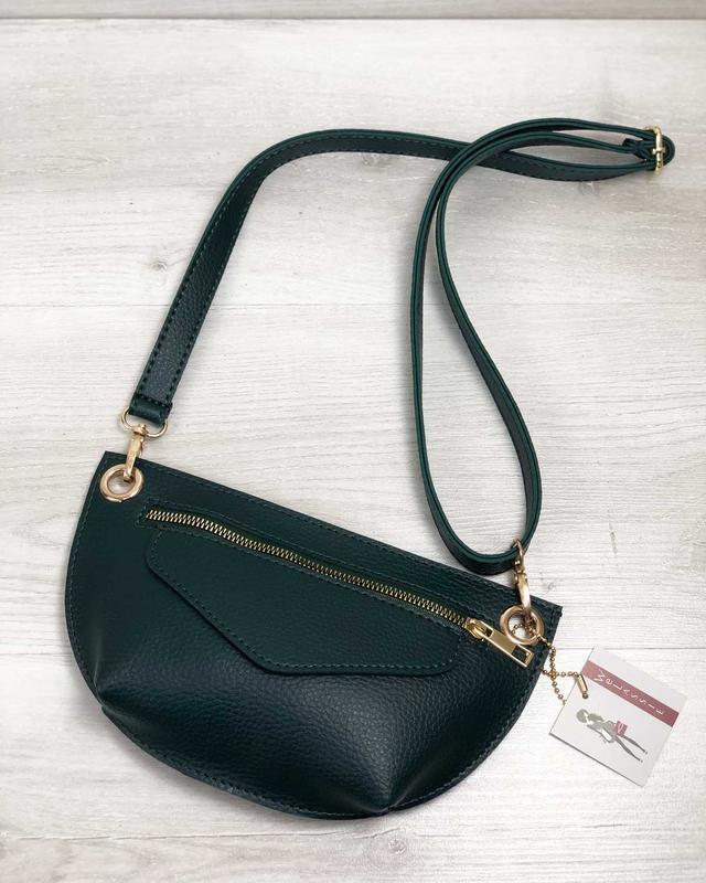 Женская поясная сумочка клатч бананка зеленая