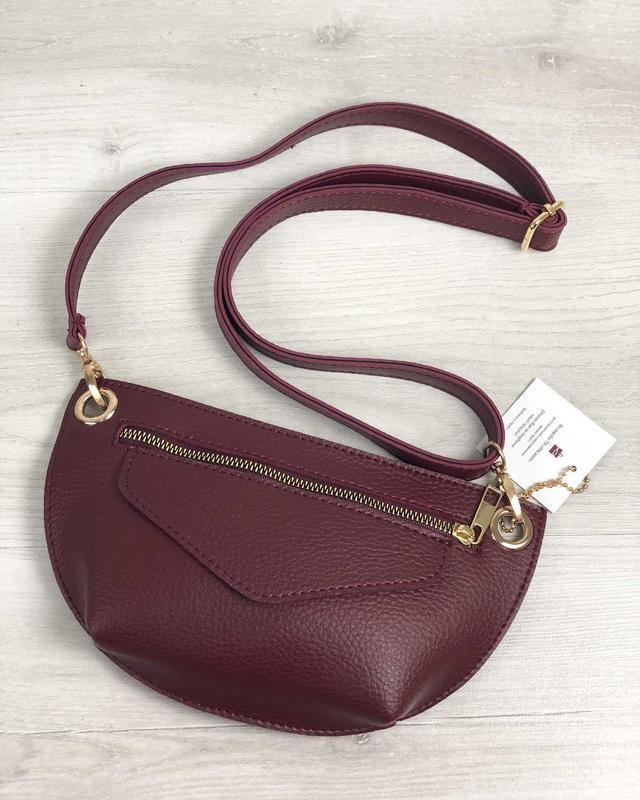 Женская поясная сумочка клатч бананка бордовая