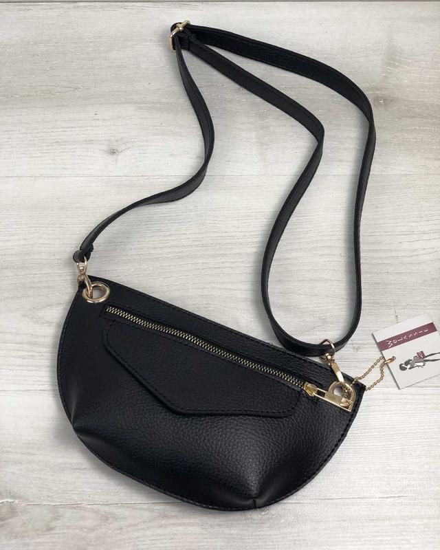 Женская поясная сумочка клатч бананка черная