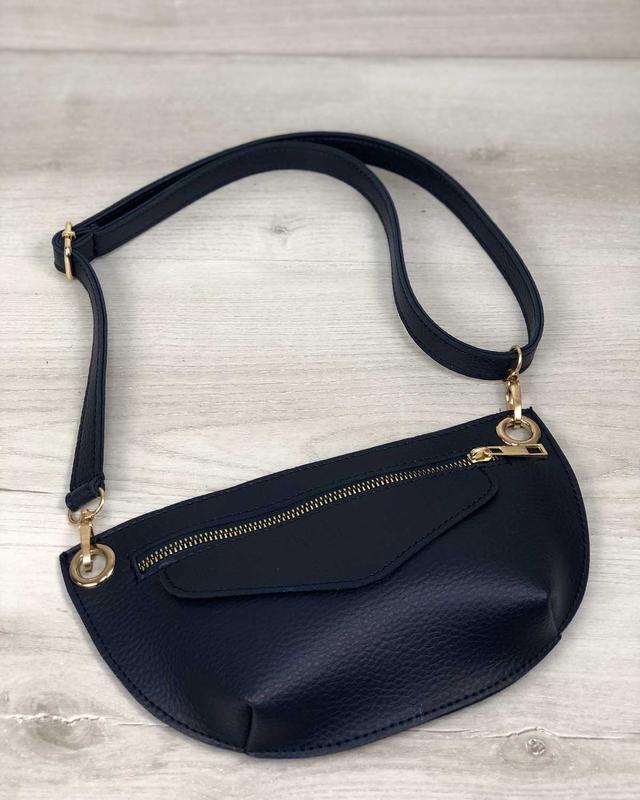 Женская поясная сумочка клатч бананка синяя