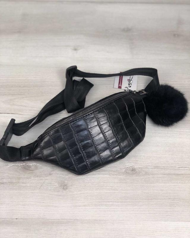 Женская бананка поясная сумка пушок в подарок черная крокодиловая
