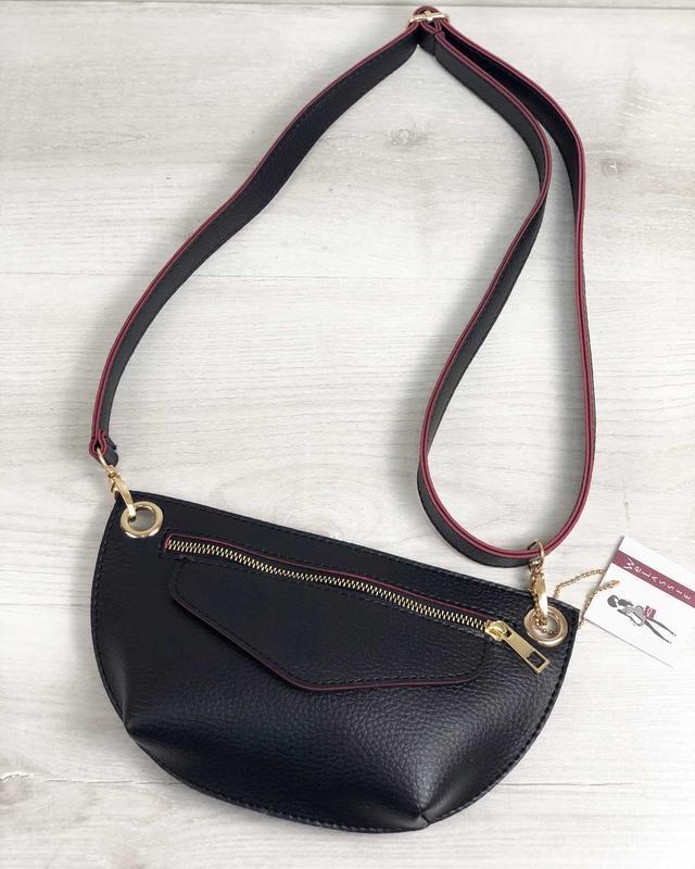 Женская поясная сумочка клатч бананка черная с красным