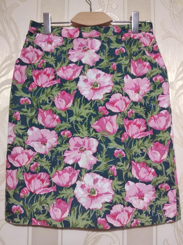 Летняя хлопковая юбка карандаш на подкладке. франция.