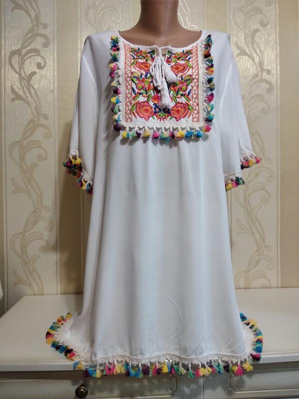 Белоснежная туника с вышивкой, платье.