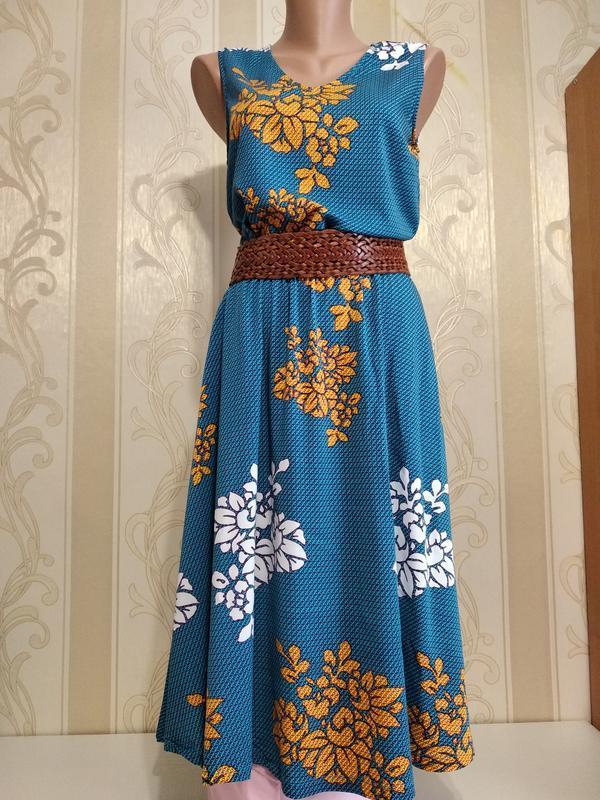 Платье вискоза , длинное , с карманами, 112см, l