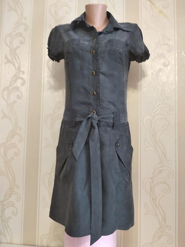 Шелковое платье халат с поясом , 100% шелк, испания.