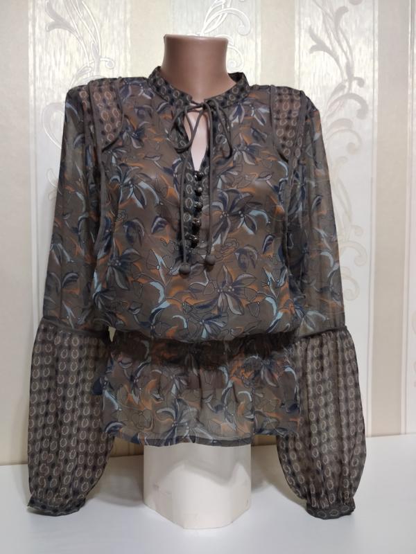 Шикарная шифоновая блуза с пышными рукавами. бохо