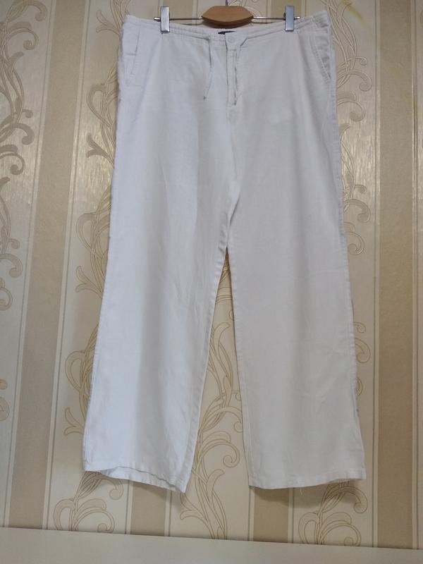 Льняные белые брюки, 100% лён.