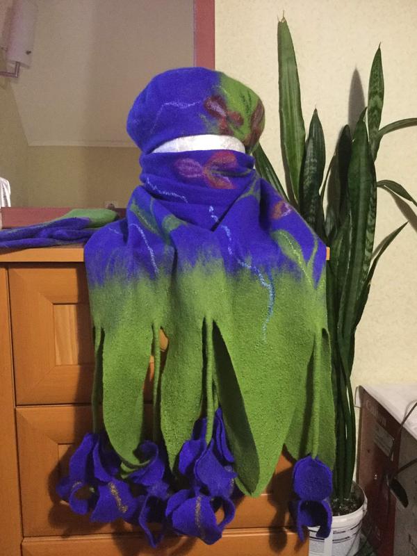 Валяный шарф,берет,рукавицы из натуральной шерсти